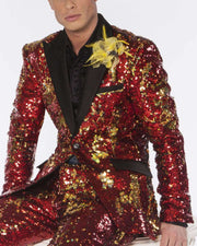 Sequins suit red and gold with black lapel, and pocket flaps.