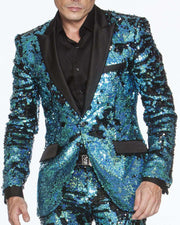 Teal sequins suit with black satin lapel and pocket flaps