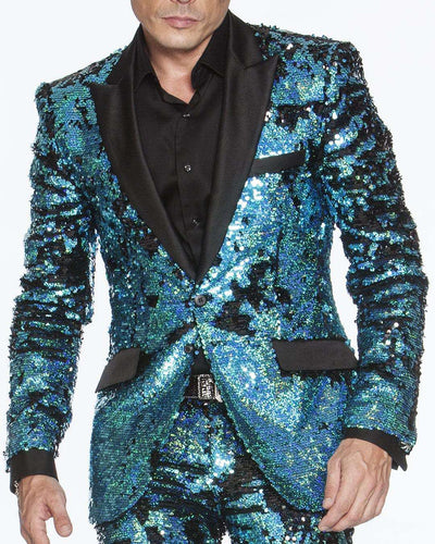 Mens Sequins suit teal color with black satin lapel and pocket flaps