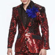 Sequin Suit, R. Sequin Red with black lapel - ANGELINO
