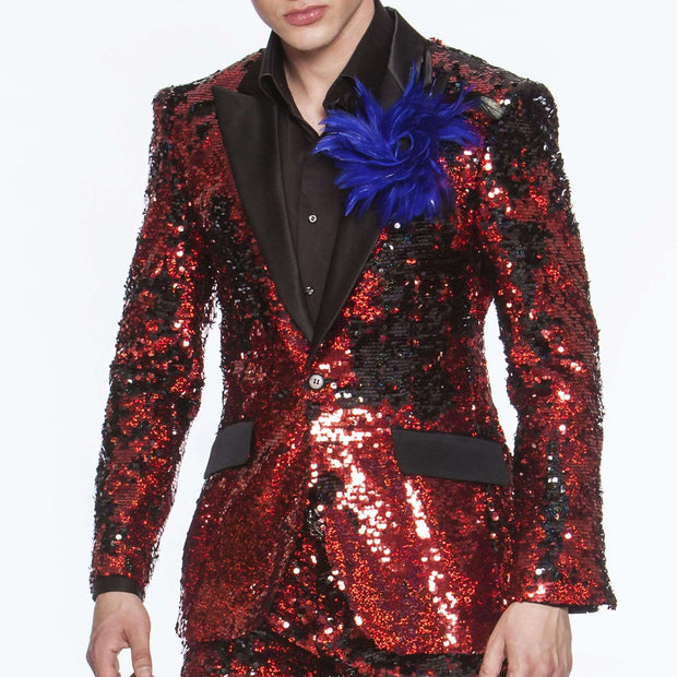 men's red sequins suits with black solid satin lapel and flap pocket comes with slim fit
