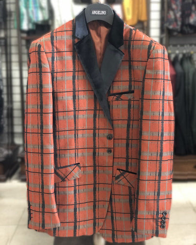 sport coat for men, men's plaid rust jacket , casual blazer for men, men's jacket for sale, cheap jacket,