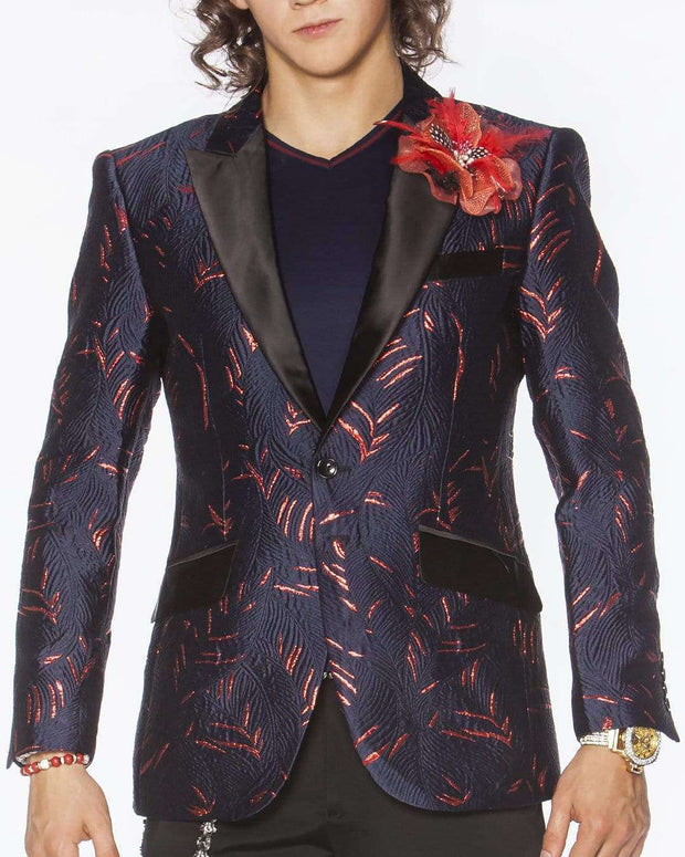 mens navy blazer with red leaf motifs on the fabric with black satin peak lapel