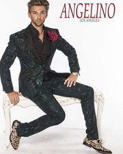 Mens suits, Tango Green with black lapel and pocket flap - 2 - ANGELINO