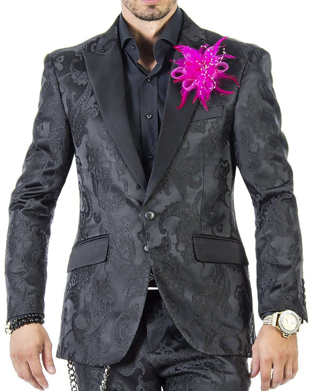 Black tuxedo suit with paisley motifs and solid black lapel for men