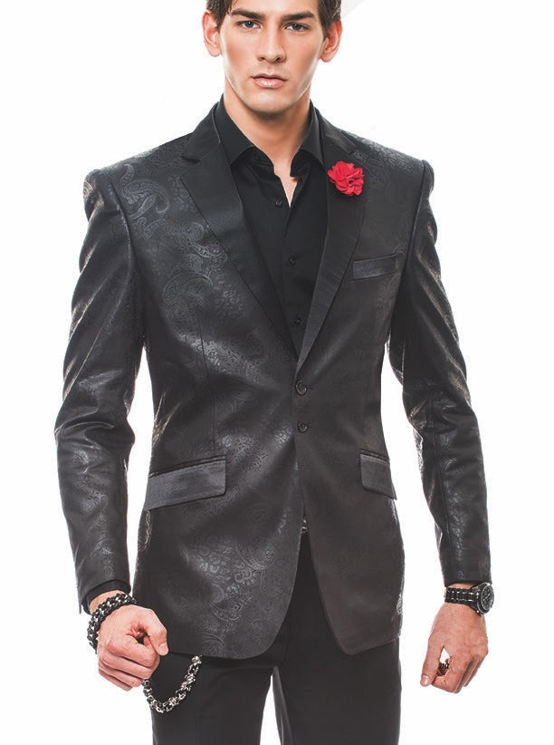 Fashion Blazer- Paisley Black - Dinner Jacket - Sport Coat - ANGELINO
