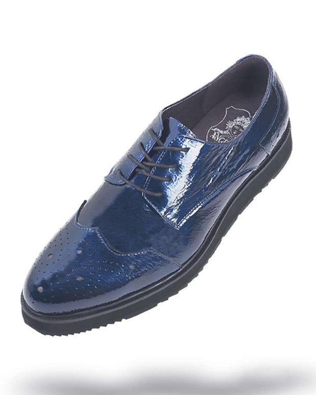 Men's Leather Shoes - Blue - ANGELINO