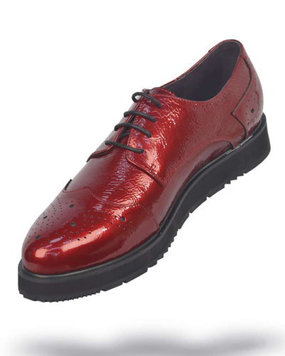 Men's Leather Shoes - Red - ANGELINO