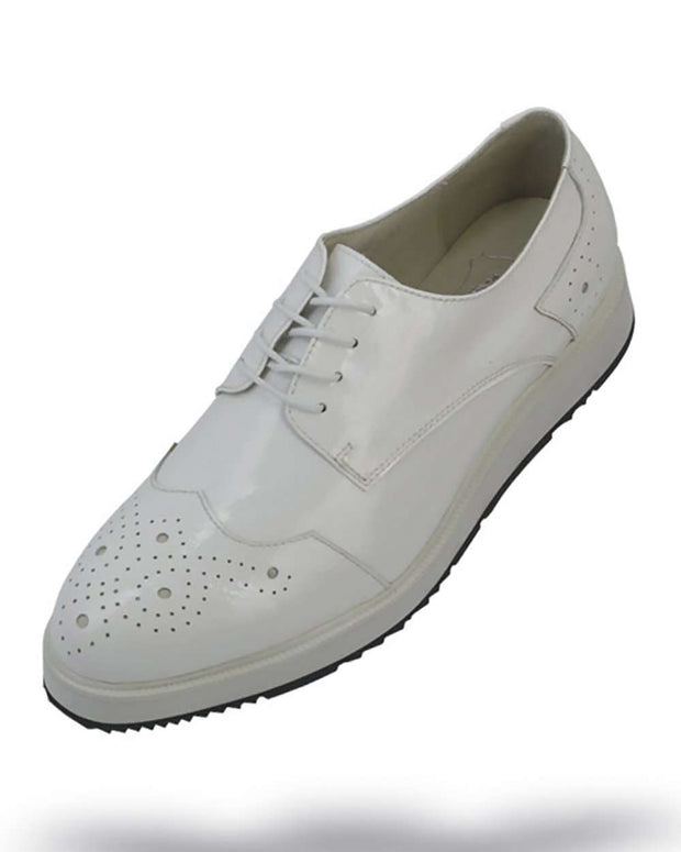 Men's Leather Shoes - White - ANGELINO