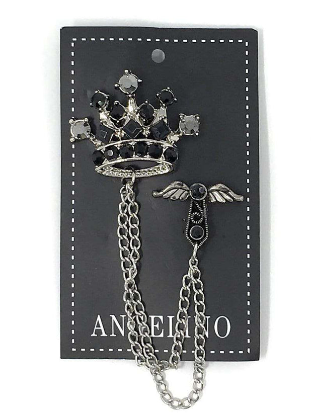 black crown lapel pins for men and women