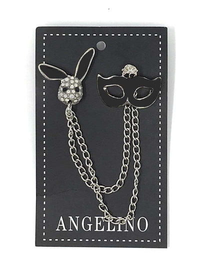 Lapel Pin, Black Mask and playboy rabbit head - ANGELINO