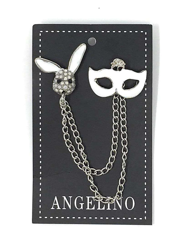Lapel Pin, Mask White with rabbit head. - ANGELINO
