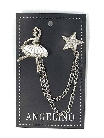 ballerina and star lapel pin accessory, silver and white