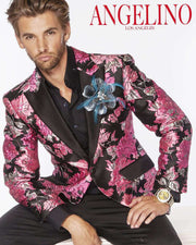 blazer with pink flower and a big lapel flower on the lapel
