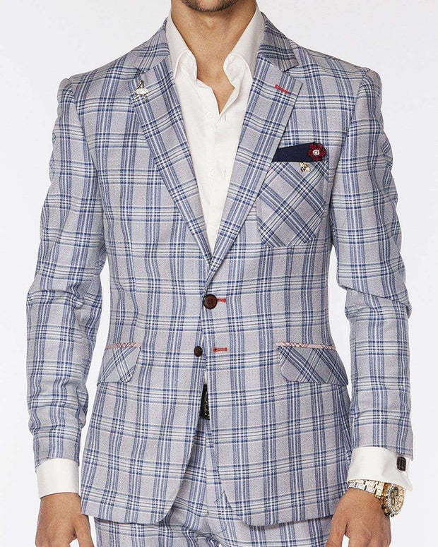 men's fashion suit blue/white plaid.