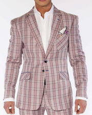 Mens Fashion Suits, Red plaid notch lapel suit  - ANGELINO