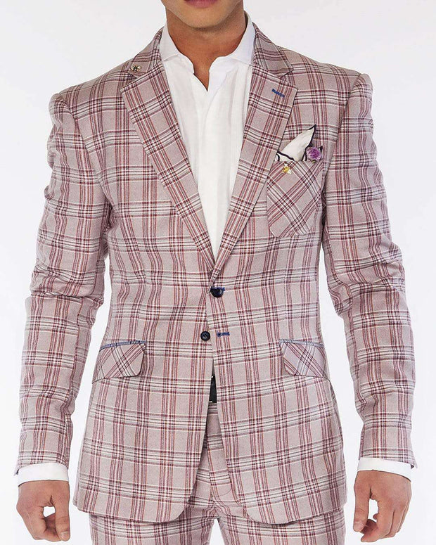 men's fashion slim fit plaid white/red