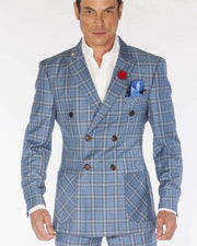Fashion Double Breasted Suits Plaid2 Blue | ANGELINO