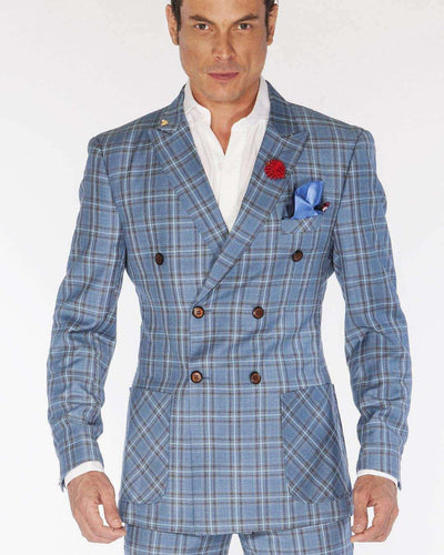 Fashion Double Breasted Suits Plaid2 Blue - ANGELINO