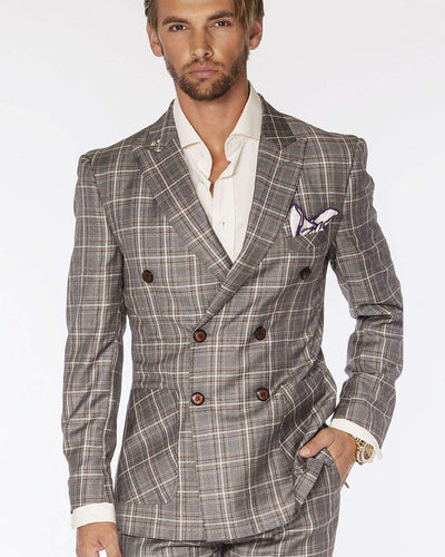 Men's Fashion Double Breasted Suits Plaid Gray