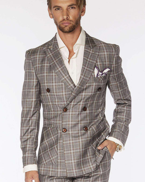 Men's Fashion suits Double Breasted Plaid2 Gray | ANGELINO