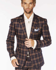 Men's Fashion Suits Plaid3 Navy/Brown | ANGELINO