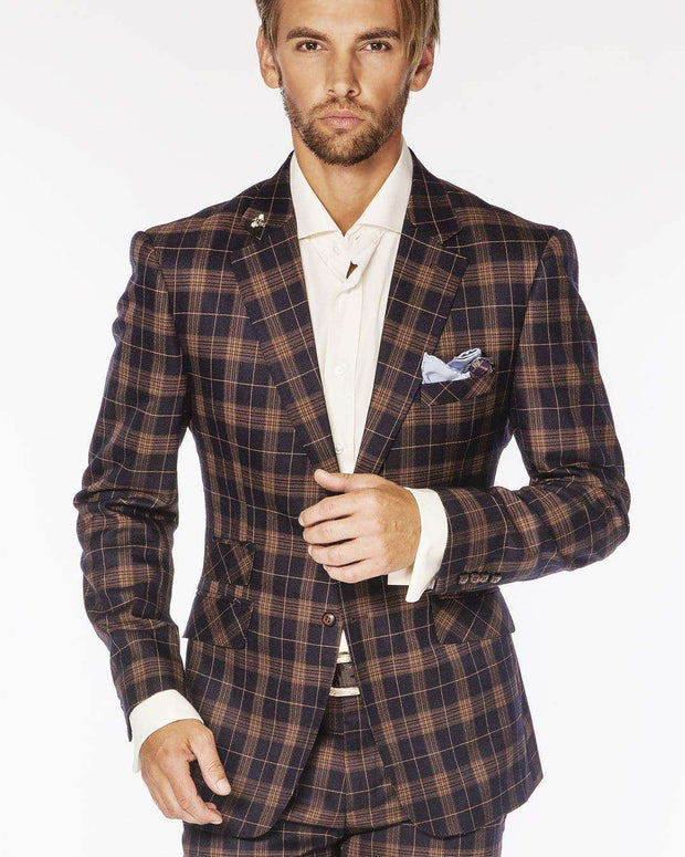 Men's Fashion Suits Plaid3 Navy/Brown - ANGELINO