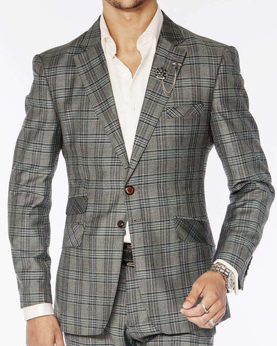 mens suits, plaid gray, slim fit