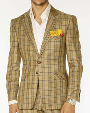 Men's Fashion Suits Plaid3 Mustard | ANGELINO