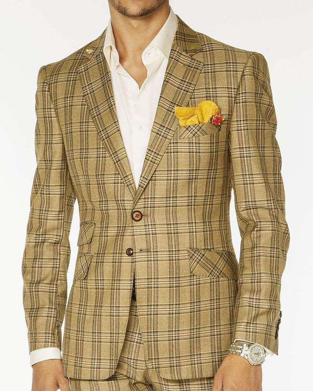 Men's Fashion Suits, Mustard plaid design - ANGELINO
