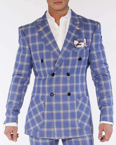 Men's Fashion Double Breasted Suits Plaid4 Blue | ANGELINO