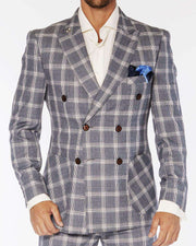 Men's Fashion Double Breasted Suits Plaid4 Gray - ANGELINO