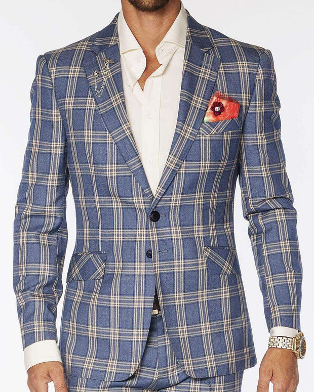 mens plaid suit blue beige.