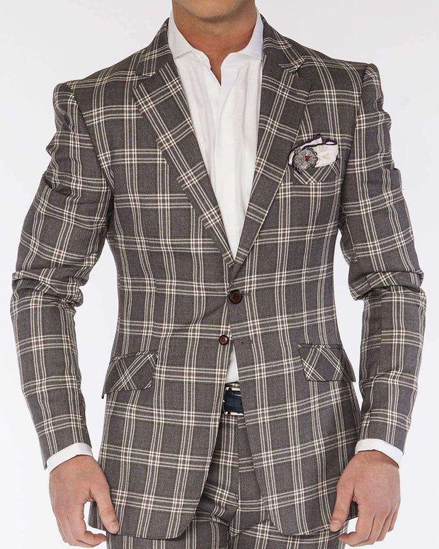 Men's Fashion Suits Plaid5 Gray - ANGELINO