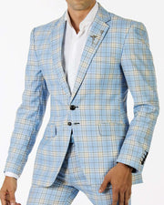 Fashion Suit for Men- Plaid Blue - Mens - wedding - Suits - ANGELINO