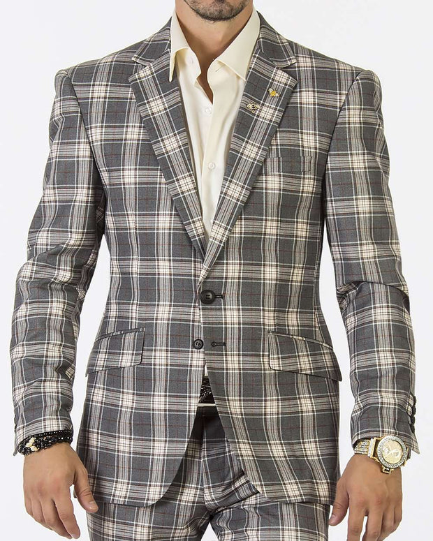 Mens Fashion Suit-New Plaid Gray - Prom - Suits _ Guys - ANGELINO
