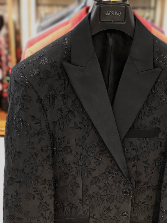 Black blazer with black satin lapel, closeup