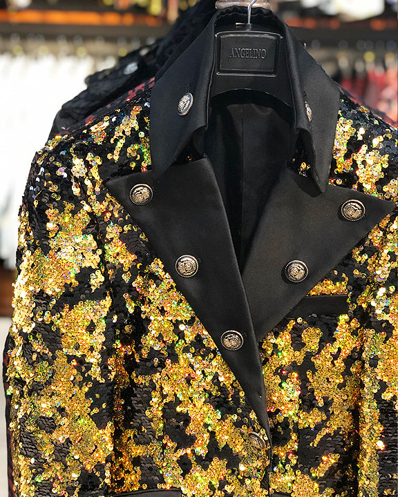 long jacket sequins gold