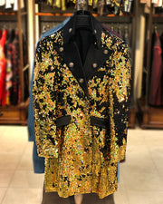 Prom Blazer - Prom 2021 - Fashion Long Jacket - Sequin Gold Black - ANGELINO