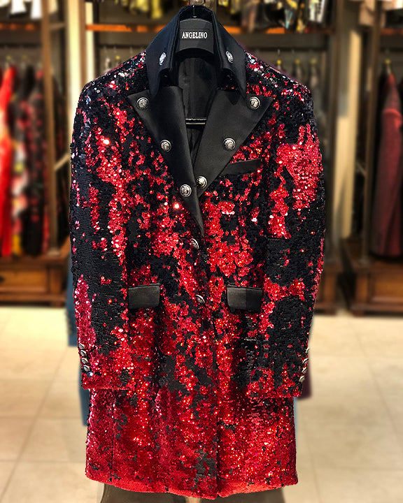 mens long jacket sequins red black