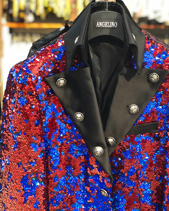 mens long jacket sequin blue red