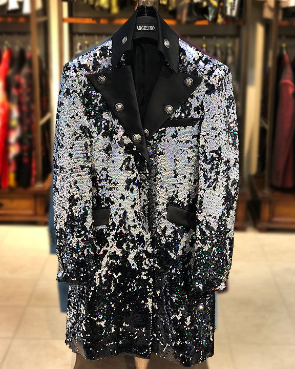 mens long jacket sequin silver