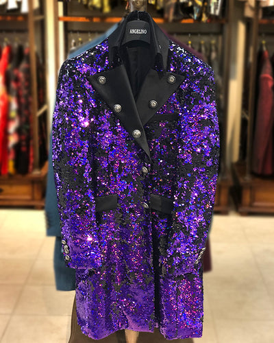 Long Coat - Sequin Purple, Mens - Long Blazer - 2021 - ANGELINO