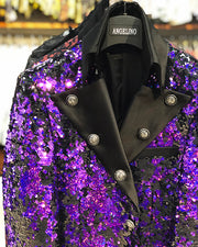 mens long jacket purple sequin