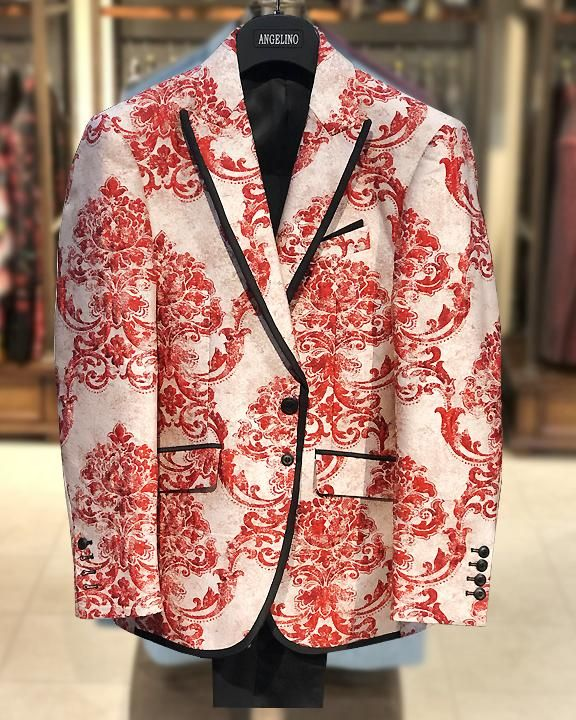 Mens fashion blazer, red victorian motives