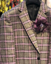 Mens Fashion Suit - Slim Fit Suits for Men - Plaid Suits - Lurex Plaid Purple - ANGELINO