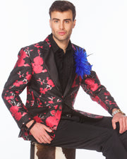Prom blazer, pink flower tuxedo blazer, with black lapel