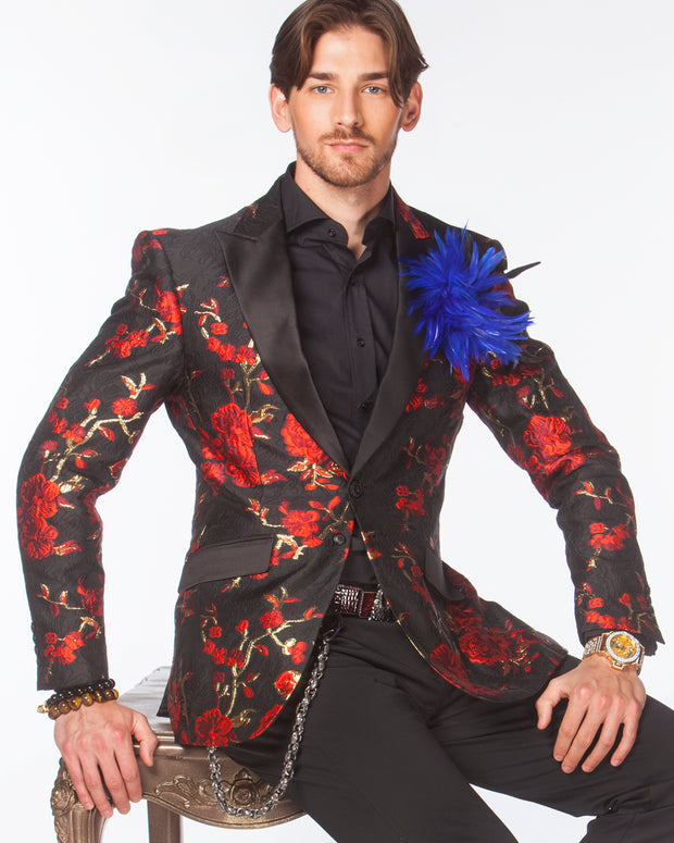 Red prom blazer with black lapel, prom suit 2020