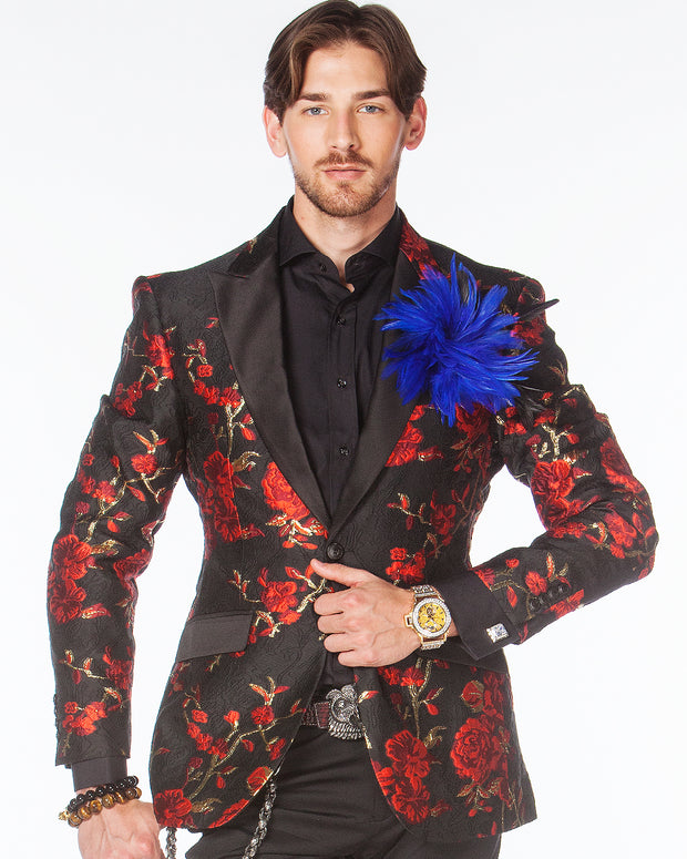 Prom blazer, red prom blazer with black lapels.