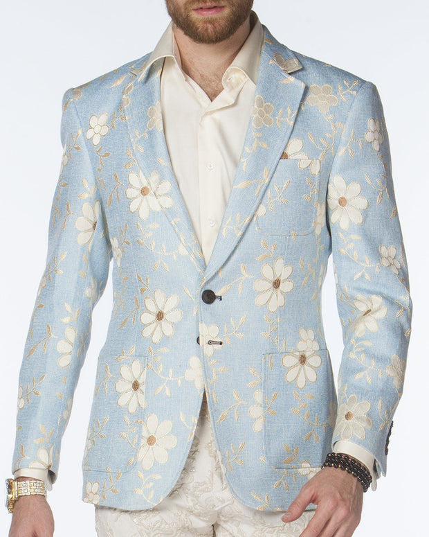 Sport coat - Daisy Flower Blue - prom - fashion - Jacket - ANGELINO